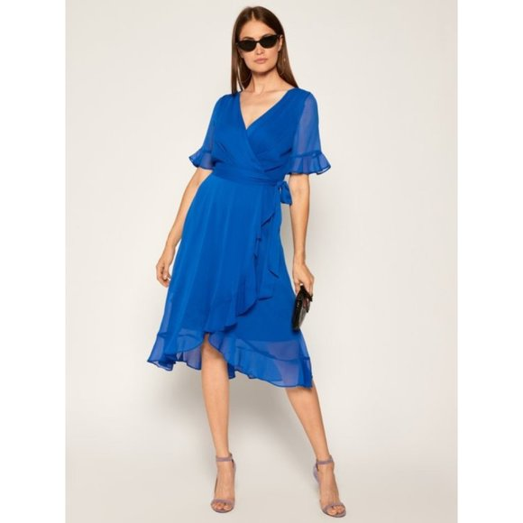 Dkny Dresses & Skirts - NEW DKNY Rochie Chiffon Blue Faux Wrap Dress